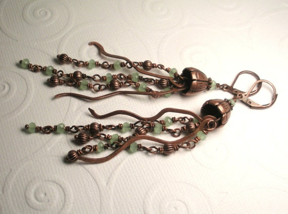 Chalcedony and Hammered Antique Copper Jellyfish Chandelier Earrings