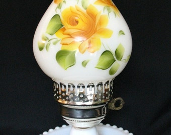 Vintage Milk Glass with Yellow Roses Dresser Painted Chimney Table Lamp 1950's