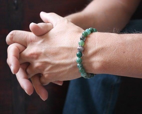 Men's Bracelet Moss Agate Stone & Bali Sterling Silver Green Stretch Bracelet