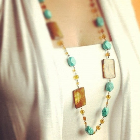 Turquoise & Mother of Pearl Long Necklace Bohemian Jewelry