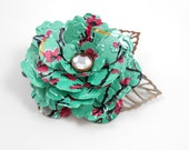 Tea Rose and Copper Leaves Brooch/Pin.  Recycled Soda Can Art. Arizona Tea