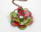 Simple Rose Pendant Necklace.  Recycled Soda Can Art.  Strawberry Kiwi