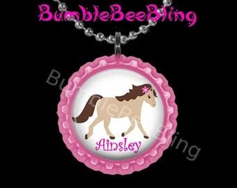 Pony Pink Personalized Pendant Necklace Horse Jewelry