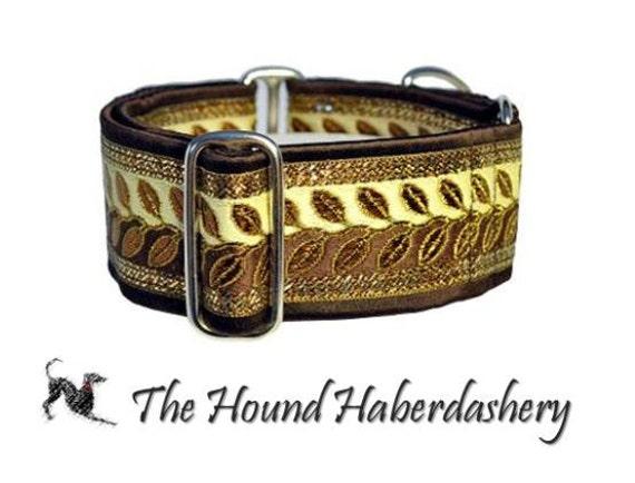 Martingale Collar: Metallic Vines Jacquard (2 Inch), Brown and Gold, Greyhound  Collar, Whippet Collar, Dog Collar, Custom Dog Collars
