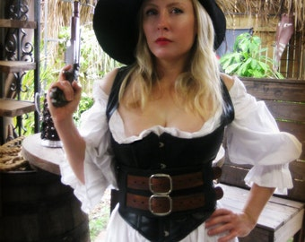 Wench's Black and Wood Grain Brown Pirate Leather Warrior Corset Belt