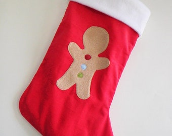 Gingerbread Boy Red Children's Christmas Stocking - Personalized Stocking - Modern Christmas Stocking