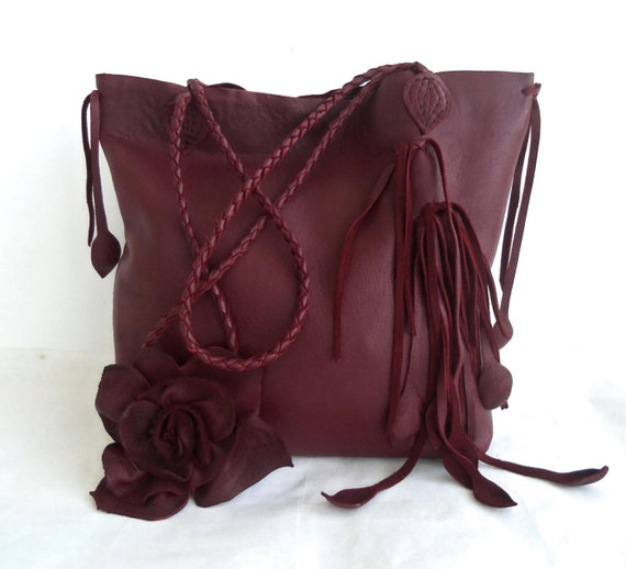 Burgundy leather handbag tote with fringe, flower and leaves by Tuscada. Ready to ship.