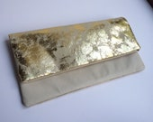 SAMPLE SALE Pretty multi purpose leather clutch bag, in cream and gold