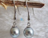 Pearl Earrings - 8.0-9.0mm Silver Gray Freshwater Pearl Dangle Earrings D17S - Free shipping