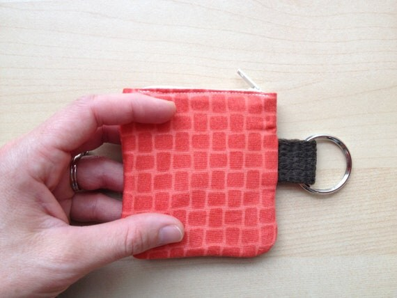 Retainer Keychain:  bright orange with brown loop and keyring