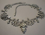 Vintage Rhinestone Bridal Necklace has scallop swags of clear rhinestones and an elegant marquis drop focal perfect wedding bridal jewelry
