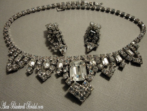 Vintage Princess Grace Bridal Necklace Set Rhinestone glamour with Earrings signed Weiss Gorgeous Bridal wedding jewelry