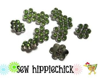 10 Green Flower Rhinestone Buttons 12mm 12 mm