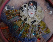 new lower price  Renaissance Court Jester  Paper Mache face  bead loomed ruffles
