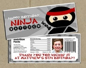 Ninja Birthday Party Candy Bar Wrappers Favors