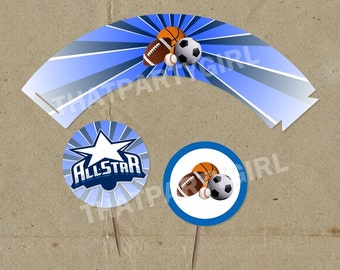 ALLSTAR Party  Cup Cake Wrappers and Toppers - DIY digital U Print