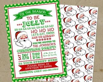 Santa Tis the Season to be Jolly Christmas Holiday Party Invitations - DIY U Print