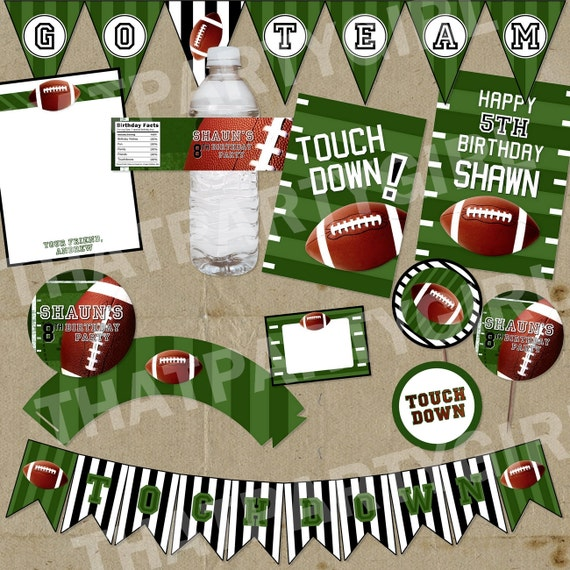 mini football party package decorations favors diy digital file u print - Football Decorations