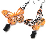 SALE Eco Friendly Jewelry Recycled Soda Can Jewelry Rockstar Orange Black Butterfly Earrings Women Gift Aluminum Can - E200 R30