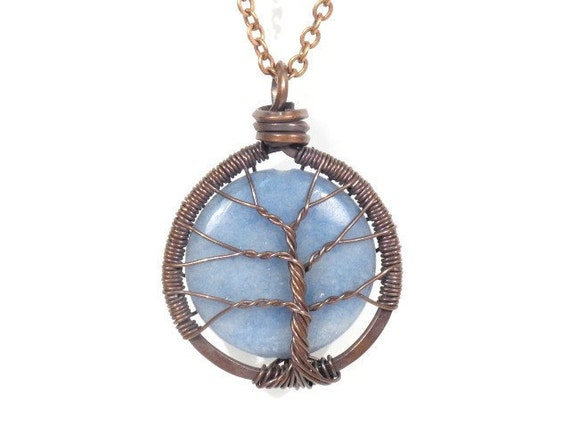 Pale Blue Angelite Stone Tree of Life Necklace in Antique Copper.