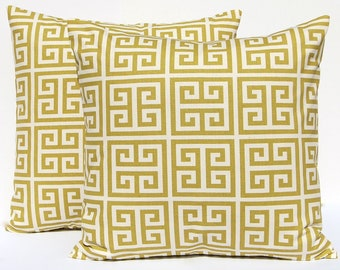 Decorative Throw Pillow Covers - Green Pillows - Village Green on Natural Greek Key Pillowcase - Cushion Covers 16 x 16 Inches Pair of Two
