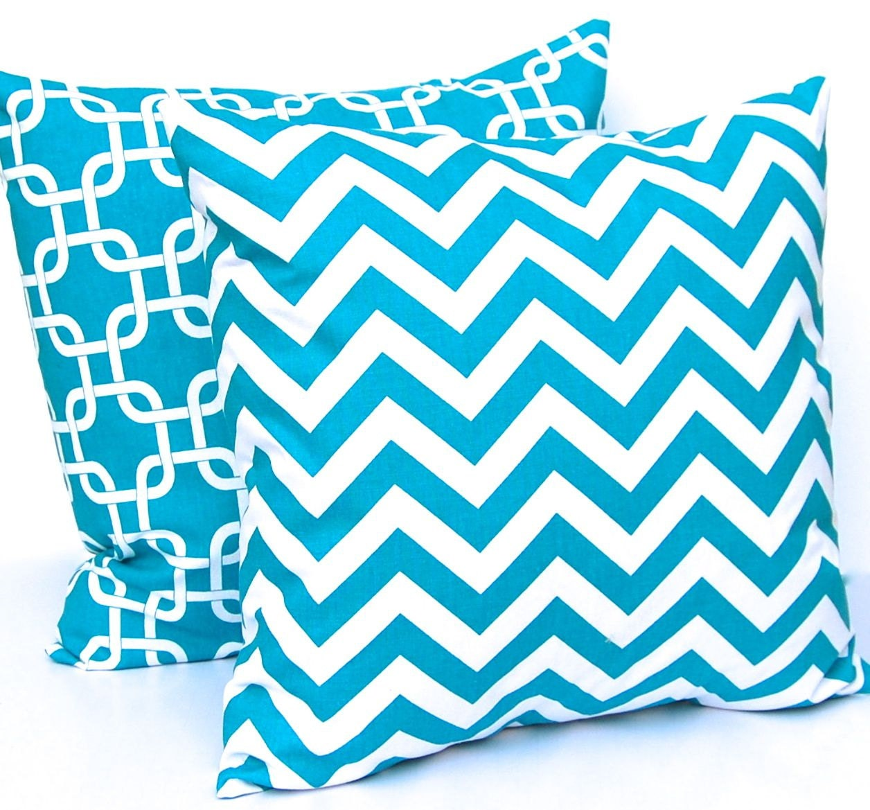 Decorative Pillows In Turquoise : Chevron Pillows Turquoise Decorative Throw by FestiveHomeDecor