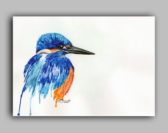 "Watercolour Birds Series, Kingfisher, Print 5"" x 7"" - Paint the Moment"