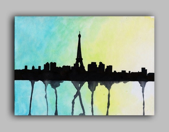 Paris Skyline Watercolour Print 5