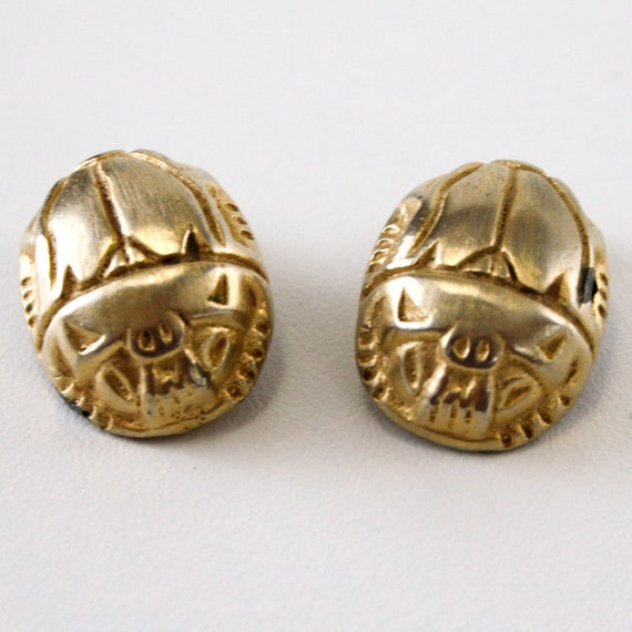 Vintage Kenneth Lane Scarab Earrings - For UpCycle - Clip ons