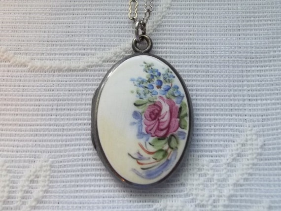Antique Guilloche Hand Painted Enamel Sterling Silver Photo Locket Necklace