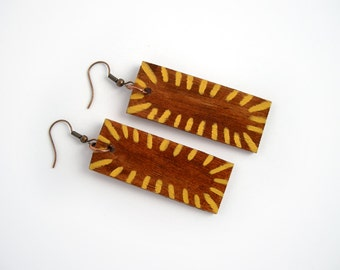 African earrings, geometric tribal pattern, brown, yellow, eco friendly jewelry, wood earrings, wooden earrings, boho earrings, handpainted