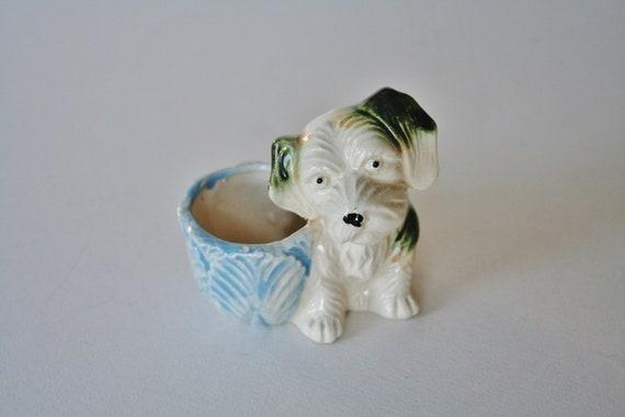RESERVED                vintage puppy planter figurine