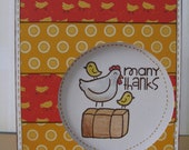 Many Thanks Window Card with Chicken & Chicks