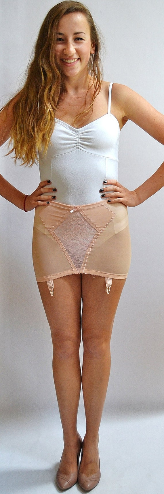 Vintage Blush Colored Lace Panel Girdle Hip Minimizer Garter