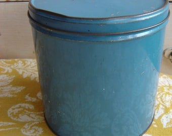 Vintage Blue Tin Canister From Yesteryear  Old  Adorable  Shabby  Cottage  Rustic  Charming