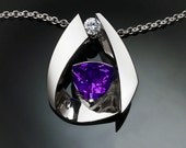 amethyst necklace, February birthstone, white sapphire, statement necklace, anniversary gift, purple gem, Argentium silver, for her 3455