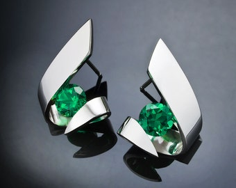 green topaz earrings, Argentium silver, modern jewelry design, green earrings, tension set, eco-friendly, for her - 2440