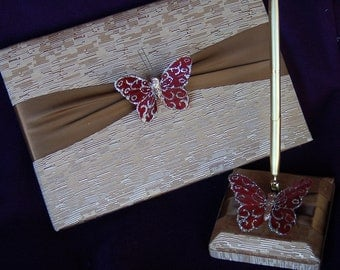 SALE SALE SALE Golden Guest Book Adorned with Butterfly Guest Book