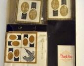 Vintage Stancraft Napkin and Coaster Set Rome and New York Black and Gold Colors Nu-Vue Canasta n Beverage Set