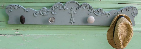 Upcycled Furniture Coat Rack with Vintage Glass Door Knobs