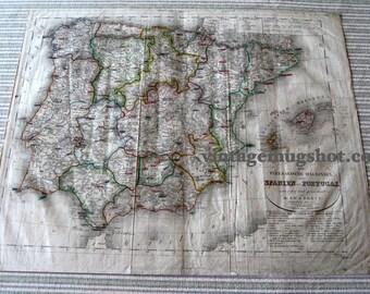 Spain Portugal  Antique GERMAN Map  1832 Dated Steel Engraving Hand Colored Atlantic SPANIEN