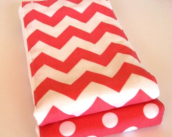 Premium 6 Ply Burp Cloth Set of 2 - Pink Chevron Pink with White Dots