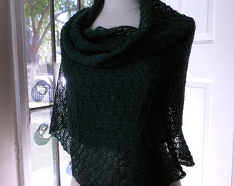 Knitted lace shawl / wrap / wide scarf, forest green, alpaca / silk blend