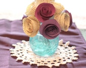 Rolled Paper Flower Bouquet - in Your colors - Vintage book pages