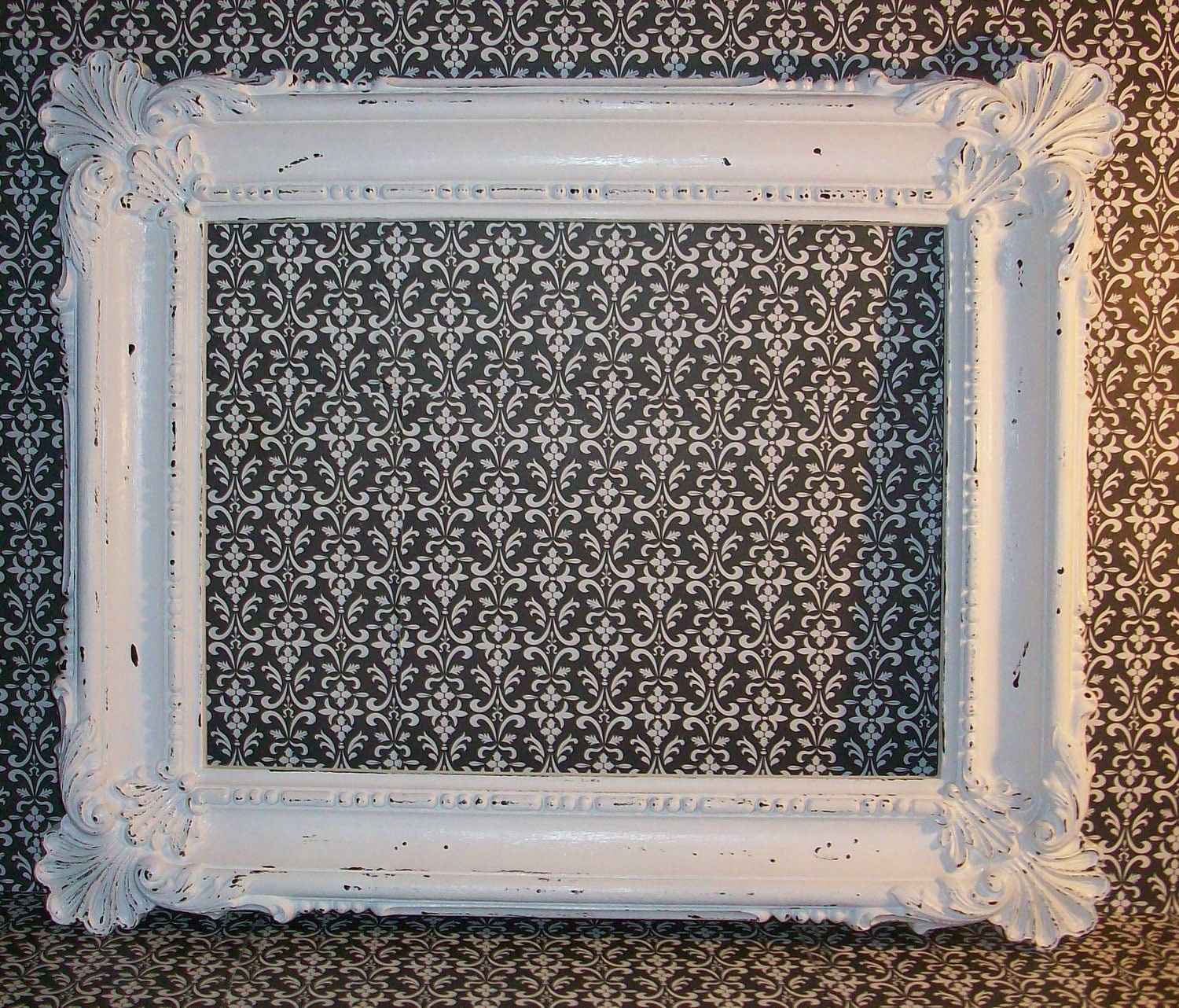 Large Vintage Ornate Chippy White Picture Frame