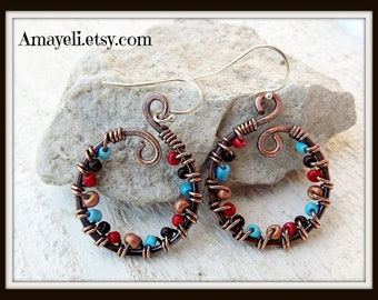 Artisan hand forged and wire wrapped swirls southwest beads