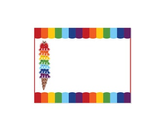 50% Off Sale! - PRINTABLE Rainbow Ice Cream Party Fancy Labels - INSTANT DOWNLOAD