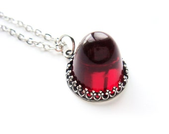Neo Victorian Crown Red Ruby Necklace July birthstone