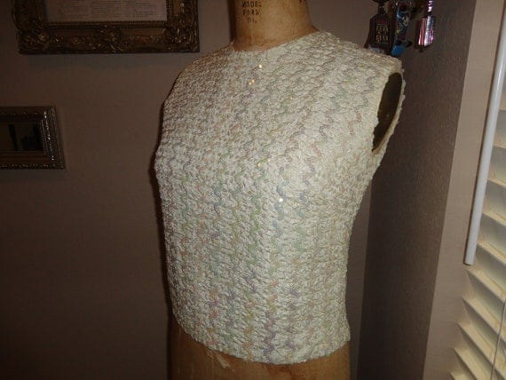 Vintage 60's Ivory Sequin Zig Zag Cocktail Dressy top Blouse CUTE
