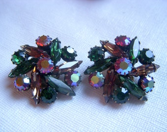 Weiss Green, Brown, Orange Navette Rhinestone Earrings